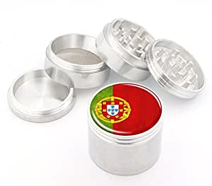 Portugal Flag Design Medium Size 4Pcs Aluminum Herbal or Tobacco Grinder # 50M050416-35