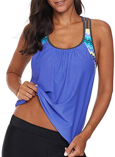 Aleumdr Women's Blouson Striped T-Back Push Up Tankini Top Halter Padded Slimming Swimsuit Sporty Swimwear Blue X-Large 14 16