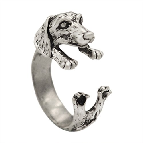 - Chengxun Boho Chic Vintage Silver Plated Tone Puppy Dog Animal Ring for Women Men Jewelry