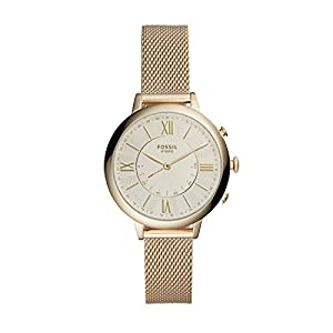 Fossil Q Women's Q Jacqueline Hybrid Stainless Steel Watch with Mesh Strap, Gold-Tone, 14 (Model: FTW5020)
