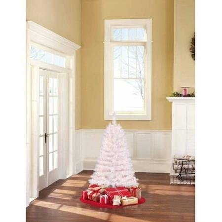 Holiday Time 4 Ft. Pre-Lit Clear White Indiana Spruce Artificial Christmas Tree (White Lit Tree Christmas Pre)