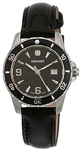 Wenger 70365 - Reloj de mujer de cuarzo, correa de piel color negro