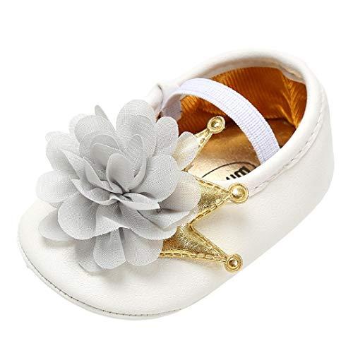 GBSELL Newborn Baby Girls Soft Sole Prewalker Crib Mary Jane Flower Princess Shoes (Gray, 0~6 Month)