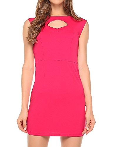 Match Women's Cutout Cocktail Sheath Dress (L, 124 Pink red)