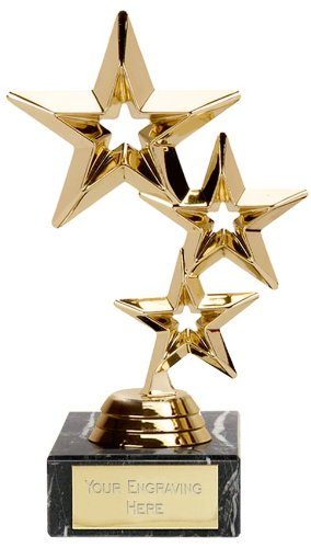 8 Triple Gold Star Trophy Award Free Engraving Upto 30 Letters