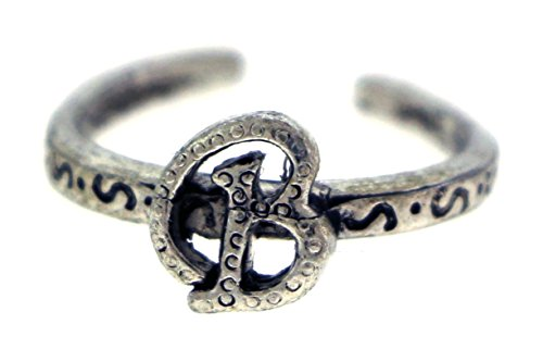 Toe Tone Silver Ring Silver (Antique Silver-Tone Toe Ring With The Letter 'B' Initial TR42A-B)