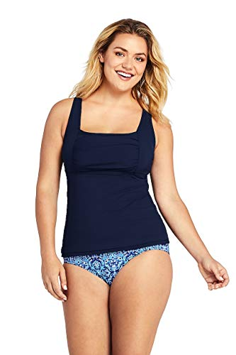 Lands' End Women's Plus Size Square Neck Underwire Tankini Top - Bras Womens Lands End