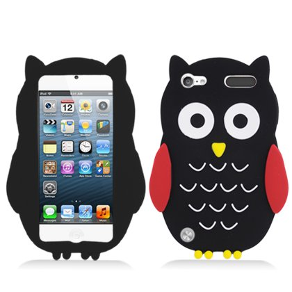 iPod Touch 5th and 6th Generation Case, Soft Rubber Silicone Gel Jelly Cover by MEGATRONIC - Big Owl/Black [With FREE Touch Screen Stylus Pen]