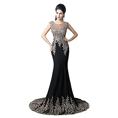 Dobelove Women's Gold Apliques Beaded Mermaid Formal Evening Prom Dress