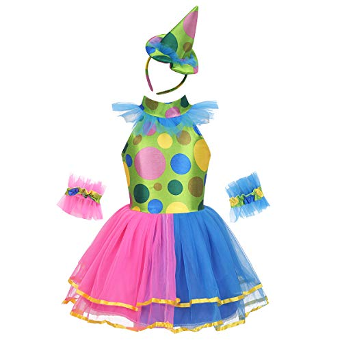 easyforever Kids Girls Halloween Mardi Gras Clown Cosplay Costume Sleeveless Mesh Tutu Dress Outfit Set Colorful 3-4 -
