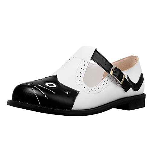 Carol Shoes Women's Cute Assorted Colors Flat Casual Mary Jane Shoes Black-T Strap R3rEXq
