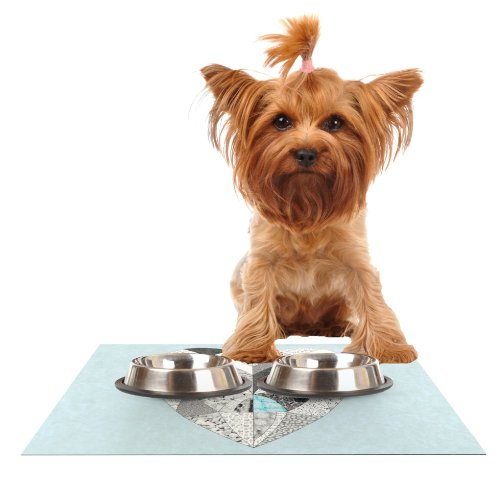Kess InHouse Vasare Nar Comheartment  Feeding Mat for Pet Bowl, 18 by 13-Inch