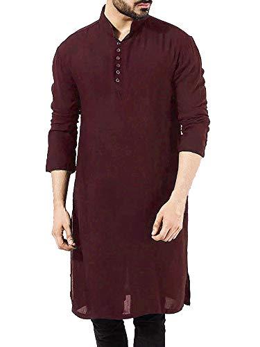 (Taoliyuan Mens Abaya Thobe Arabic Longline T Shirts Henley Kaftan Banded Collar Plain Gown Shirts Wine Red)