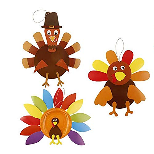 Turkey Craft Kits Thanksgiving & Autumn |3 Pack Thankful Turkey Making Kit |DIY Festive Fall Thanksgiving Party Game |School Activities and Door Hanging Ornament Decoration Supplies for Kids and -