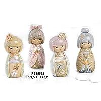8 pz Bamboline Giapponesi in resina 3D Bomboniera Comunione Cresima cm. 9,5