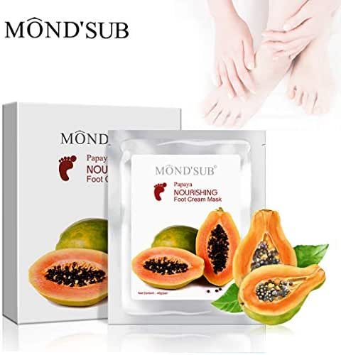 MONDSUB Papaya Nourishing Foot Cream Mask Leave Skin Soft Smooth and Supple Dissolves Inactive Protein and Dead Skin Cells Spa Mask Moisture Enhancing Socks for Dry Feet(1box=5pcs)