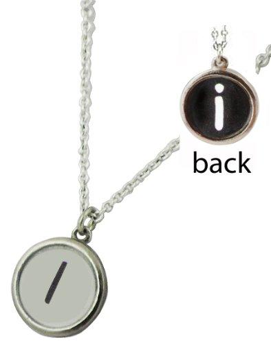 "REVERSABLE 'Typewriter Key"" Initial Monogram Necklace Choose your Letter (I)"