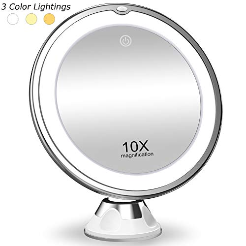 KOOLORBS New Version 10X Magnifying Makeup Mirror with Lights, 3 Color Lighting, Intelligent Switch, 360 Degree Rotation, Powerful Suction Cup, Portable, Good for Tabletop, Bathroom, Traveling