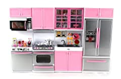 DELUXE MODERN KITCHEN BATTERY OPERATED TOY KITCHEN PLAYSET: Let your child master this realistic, compelete kitchen set with Stove, Oven, Sink and Refrigerator.
