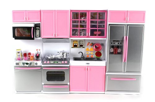 39 deluxe modern kitchen 39 battery operated toy kitchen for Toy kitchen set