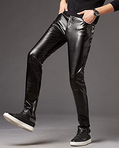 Hop Pantalone Pantaloni Elasticizzati Biker Moto Pelle Nero Hip Da Dianshaoa Uomo In Faux Zip Punk OAndaqPwa