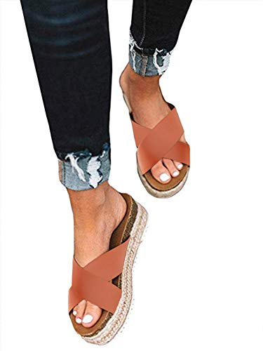 - SurBepo Women's Platform Espadrilles Slide Sandals Criss Cross Slide-on Open Toe Faux Leather Summer Flat Sandals (10 B(M) US-EU Size 42, 1-Brick Red)