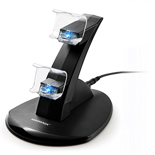 PS4 Controller Charger, Dual USB Charging Docking Station Stand with LED Lights for Playstation 4