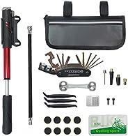 Kit de reparación de neumáticos de bicicleta CHUMXINY que contiene herramienta 16 en 1, mini bomba de biciclet