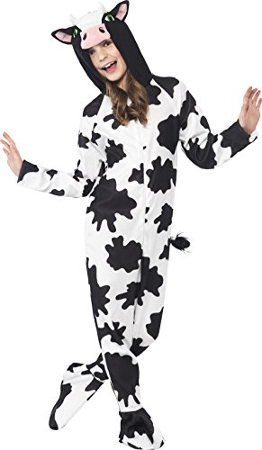 Smiffy's Children's Unisex All In One Cow Costume, Jumpsuit with Tail and Ears, Party Animals, Ages 7-9, Size: Medium, Color: Black and White, 27993