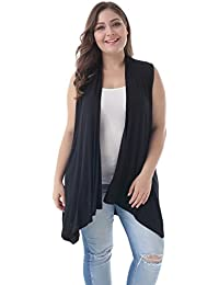 Women's Plus Size Sleeveless Asymetric Hem Open Front Lightweight Soft Printed Drape Cardigan