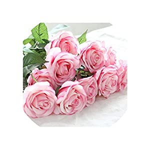 Artificial Flowers Artificial Rose Flowers Wedding Bride Bouquet Babybreath Fake Flower for Wedding Home Party Decor,7 Light Pink,6Pcs