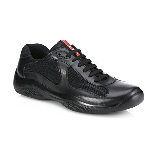 Prada Leather America's Cup Mesh Black Trainers - Americas Prada