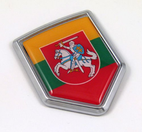 Lithuania Flag Emblem Chrome Car Auto Bike