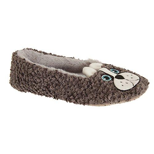 Slumberzzz Da Donna / Da Donna Slip On Dog Fleece Slippers Carbon