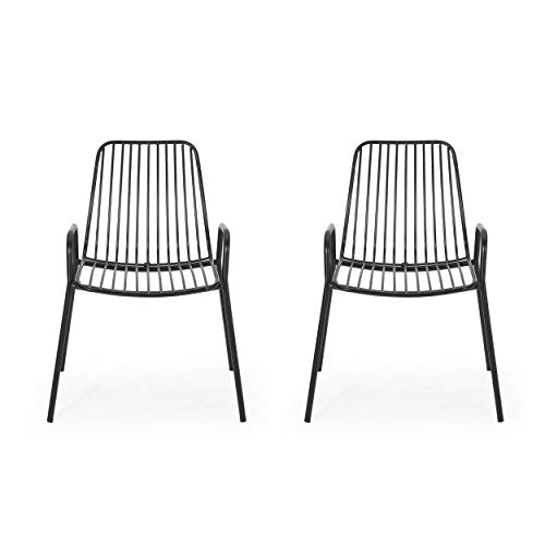 Ashley Outdoor Modern Iron Club Chair (Set of 2), Matte Black