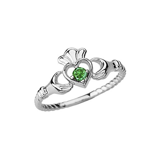 Dainty 14k White Gold Open Heart Solitaire Emerald Rope Claddagh Promise Ring (Size 7) (Emerald Green Rope)