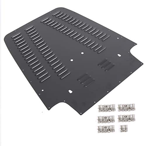 ECOTRIC Black Powder Coating Aluminum Vented Hood Louver for 1997-2002 Jeep Wrangler TJ