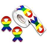 Gay Pride 彩虹贴纸 - 多种形状 丝带 ST-02-RB