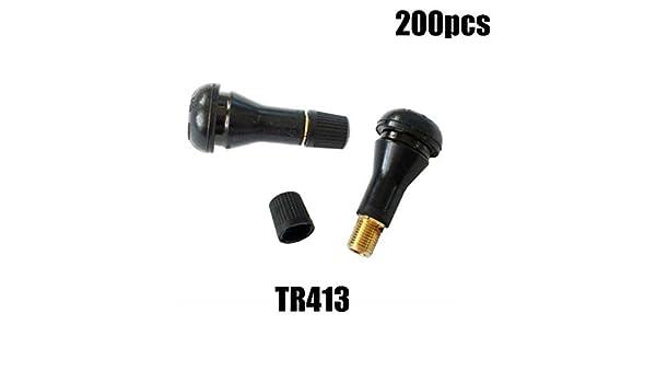 200PCS TR413 TR 413 Snap-In Tire Valve Stems Short Black Rubber Valve