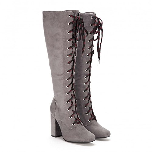 Block Boot Tall Women's Heel Knee Fully High Grey Onlineshoe Laced g51I8xqBnw