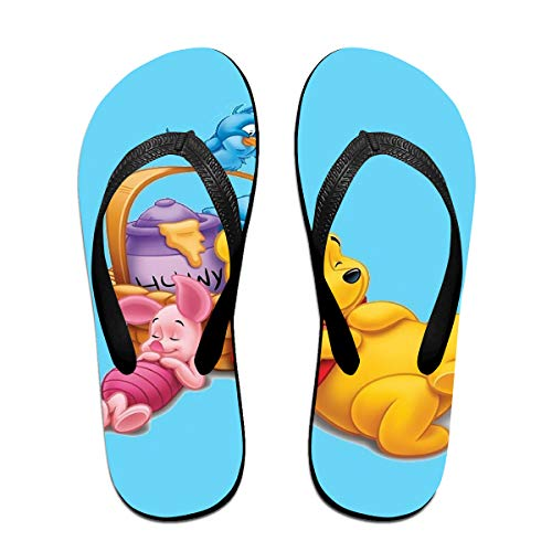 JINUNNU Unisex Flip Flops Glitter Sandals Cartoon Winnie The Pooh Classical Comfortable Slipper for Women/Men Black