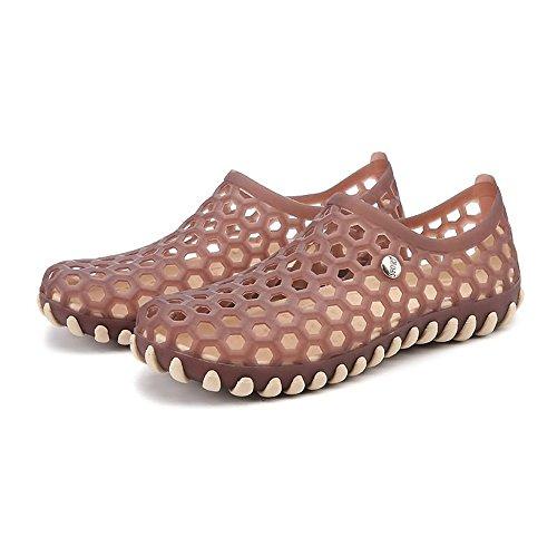 estate da UK ciabatte Khaki 6 Walking slip on 5 Vamp uomo uomo scarpe Transparent Hollow sandali Outdoor Color Water Da plastica comodo Wenquanshoes WXfEB