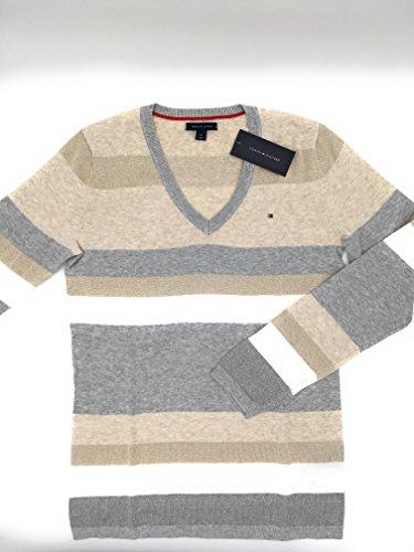 Tommy Hilfiger Damen V-Neck Pullover Pulli Strickpullover grau-beige Größe S