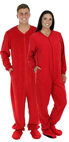 SleepytimePjs Adult Red Fleece Onesie Pjs Footed Pajama-Women (ST17-W-RED-XS)