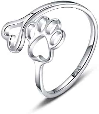 Pet Lovers Paw Print Love Heart 925 Sterling Silver Ring Open Adjustable Ring Pet Animal Jewelry Creative Pierced Love Dog Cat Claw Ring