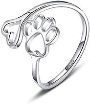 Anel de prata esterlina 925 com estampa de patas para amantes de animais de estimação e animais de estimação,