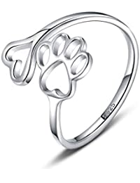 7b81c3a5e Pet Lovers Paw Print Love Heart 925 Sterling Silver Ring Open Adjustable  Ring Pet Animal Jewelry