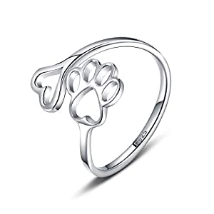 Puppy Pet lovers Paw Print Love Heart 925 Sterling Silver Ring Open Adjustable Ring Pet Animal Jewelry Creative pierced…