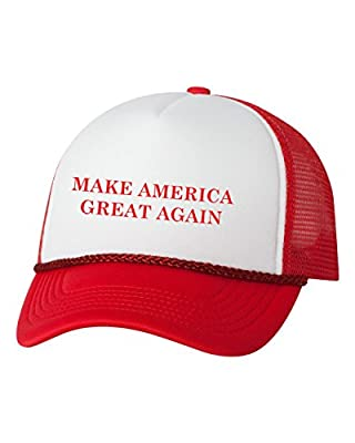 Mashed Clothing Make America Great Again Donald Trump President 2016 Trucker Cap Hat (Red/White)