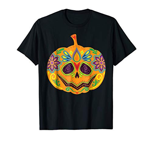 Cute Art Sugar Skull Pumpkin Scary Halloween Costume